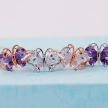 Almei Women's Rose Gold or Platinum Purple or Clear CZ Butterfly Ring