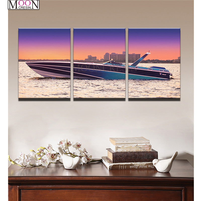 5D DIY Diamond Painting Speedboat At Sunset Multi Panel - craft kit