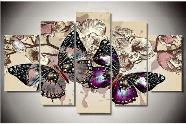 DIY Diamond Painting Butterflies on Neutral Background Multi Panel - craft kit