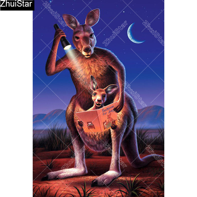 5D DIY Diamond Painting Cartoon Kangaroo Bedtime Story - craft kit
