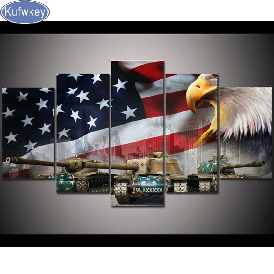5D DIY Diamond Painting American Flag Eagle and Tank Multi Panel - craft kit