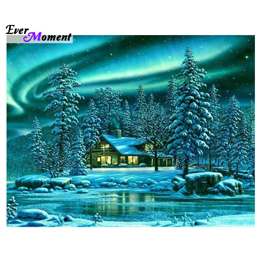 DIY Diamond Painting Winter Cottage Aurora Borealis - craft kit