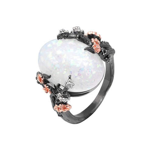 Engagement Ring Store Women's Black Gold Filled White Opal Flower Ring