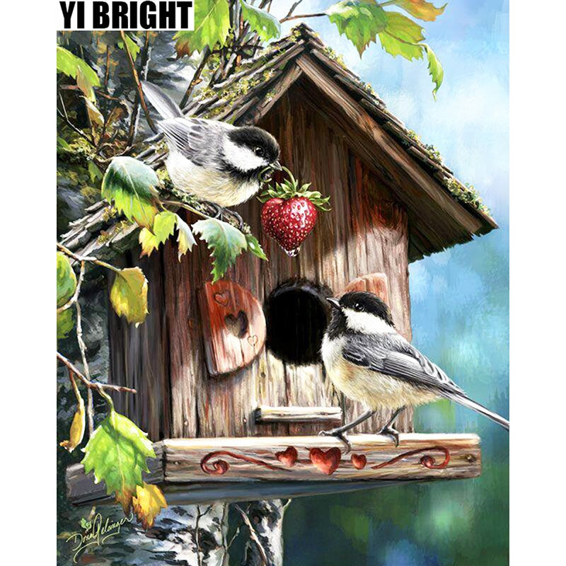 5D DIY Diamond Painting Chickadees in Birdhouse - craft kit