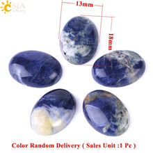 CSJA Natural Sodalite Cabochon Bead Oval Flat Back 13x18mm to 30x40mm