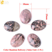CSJA Rhodonite Oval Cabochon Pink Flat Back Dome 13x18mm to 30x40mm