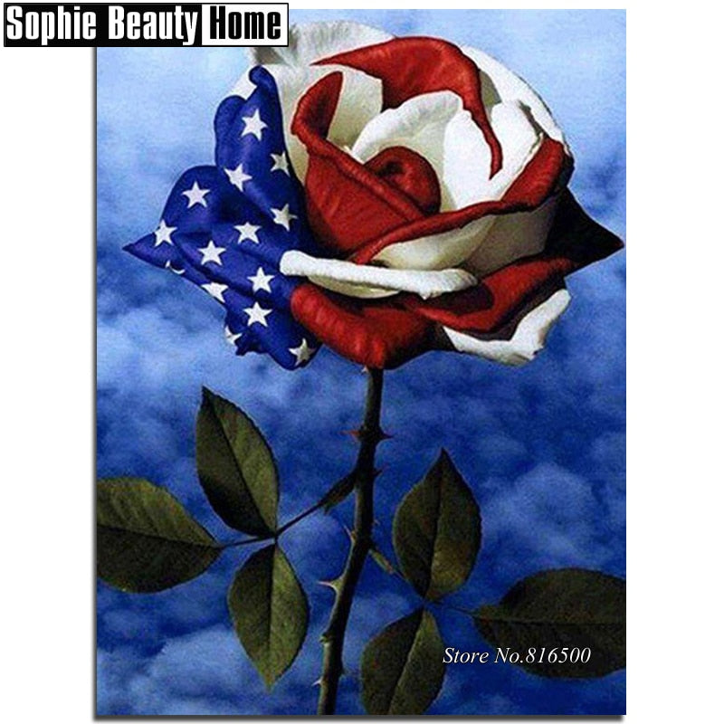 5D DIY Diamond Painting American Flag Stemmed Rose - craft kit