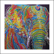 5D DIY Diamond Painting Elephant Head with Tiny Hat Partial - craft kit