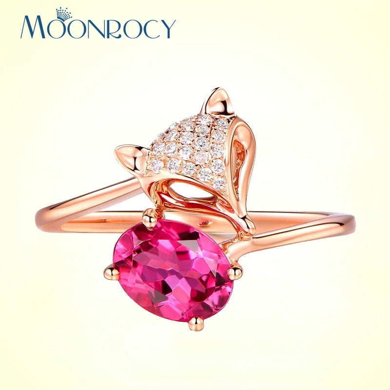 MOONROCY Women's Rose Gold Adjustable Fox Ring with Ruby Pink CZ