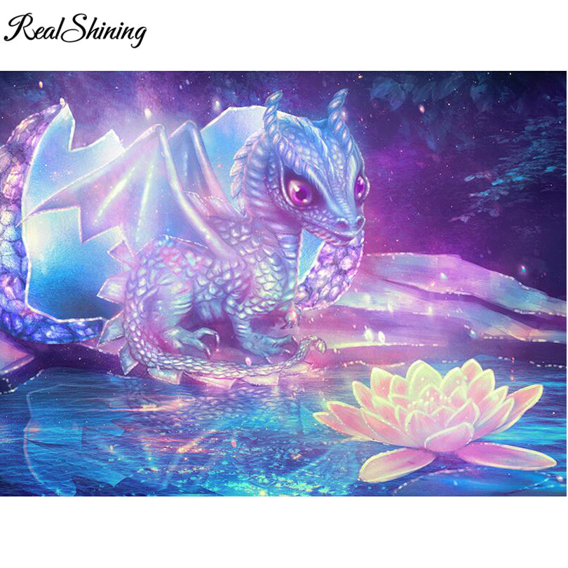 3D DIY Diamond Painting Blue Dragon and Lotus Flower - craft kit