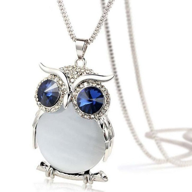 Women's CZ Blue Eyes Owl Pendant Long Sweater Necklace