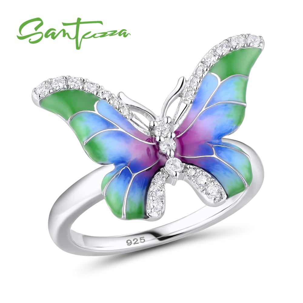 SANTUZZA Women's 925 Sterling Silver Blue Green Enamel Butterfly Ring