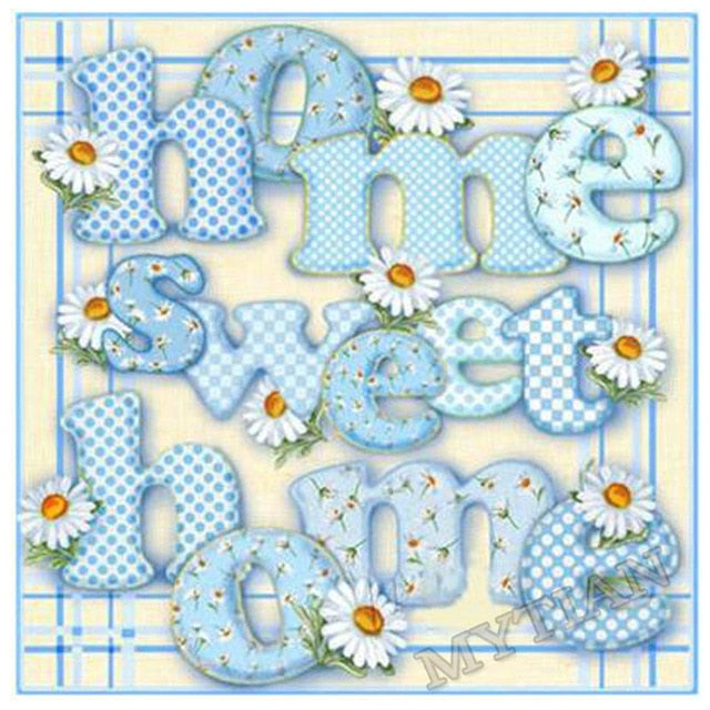 5D DIY Diamond Painting County Blue Floral Home Sweet Home - craft kit