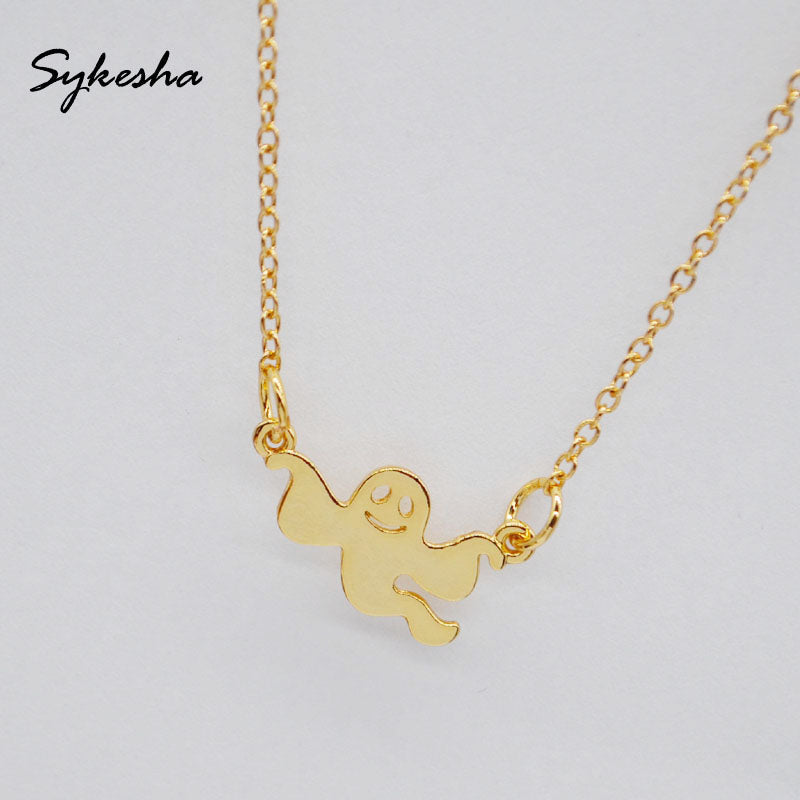 Sykesha Halloween Ghost Necklace in Gold Tone, Silver Tone or Rose Gold