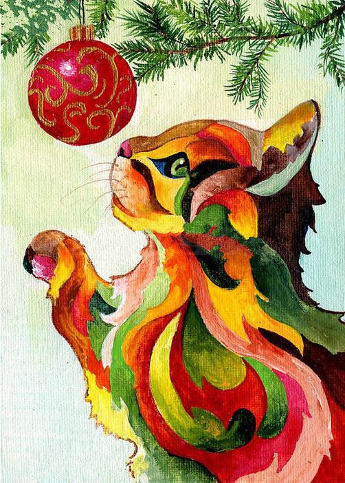DIY Diamond Painting Watercolor Cat with Red Christmas Ornament - craft kit