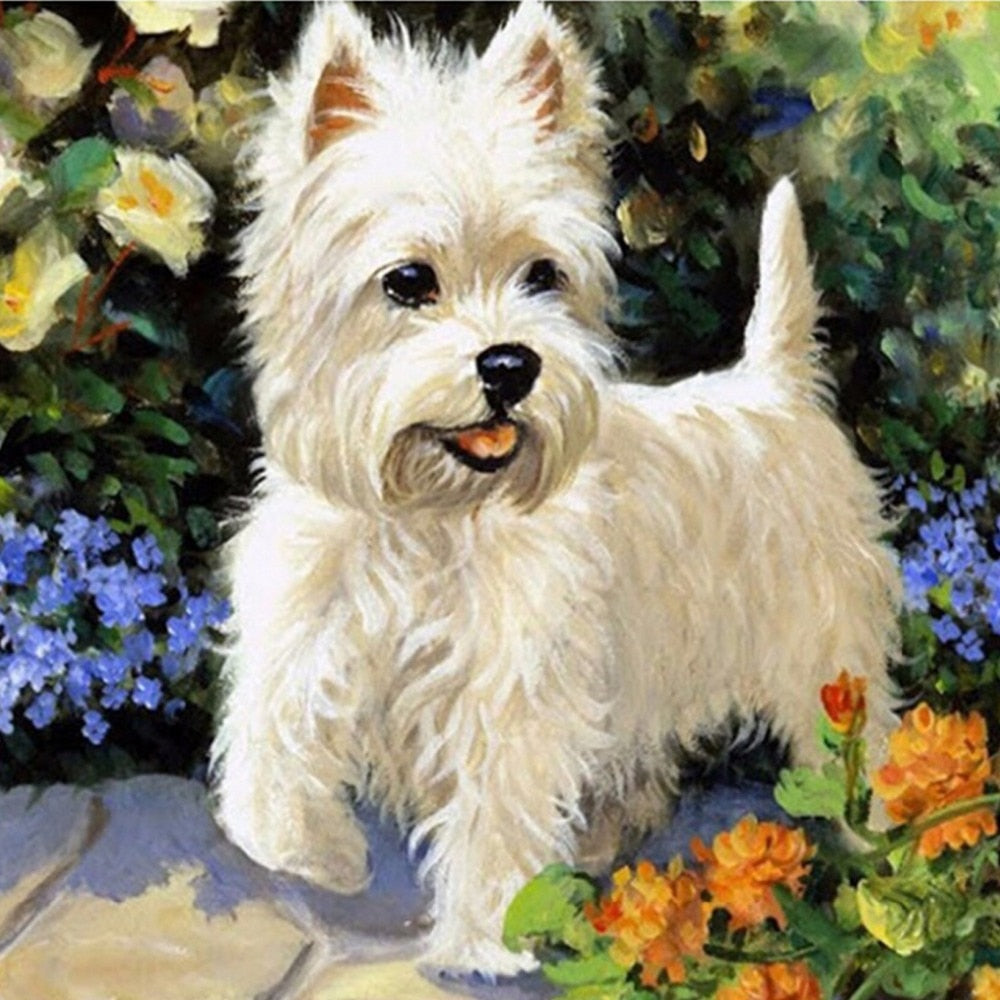 5D DIY Diamond Painting White Westie Dog Drawing - craft kit