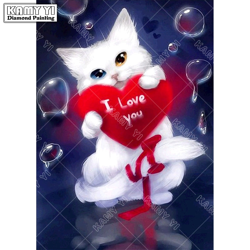 3D DIY Diamond Painting White Kitten I Love You Heart Drawing- craft kit