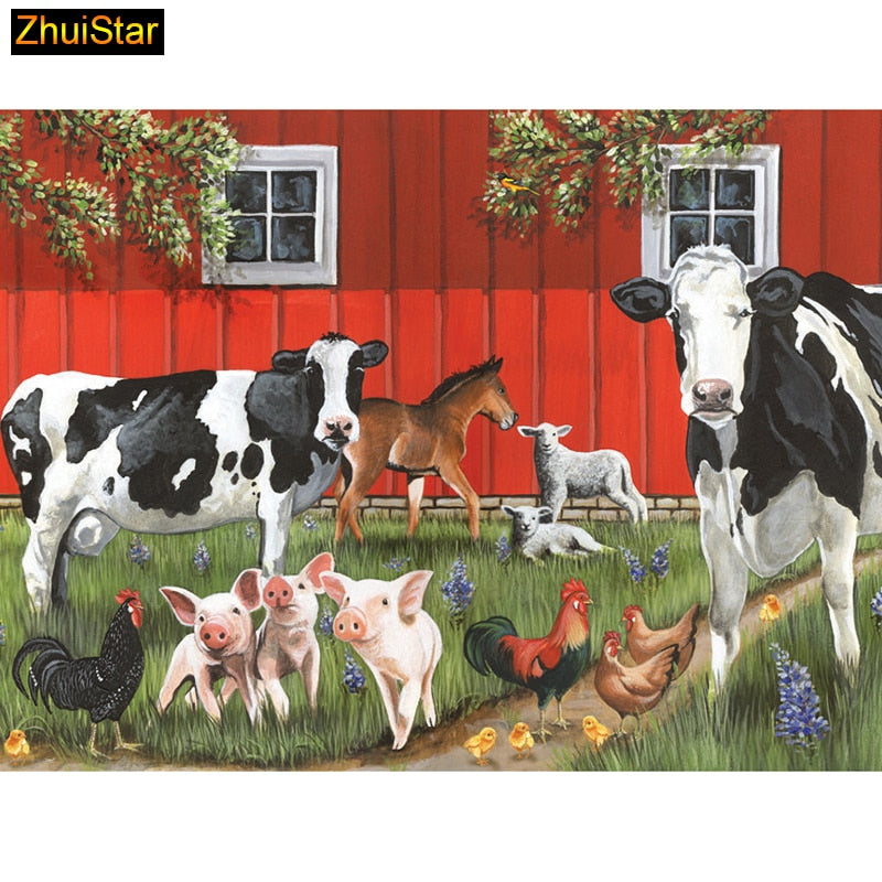 5D DIY Diamond Painting Barnyard Cows and Friends - craft kit