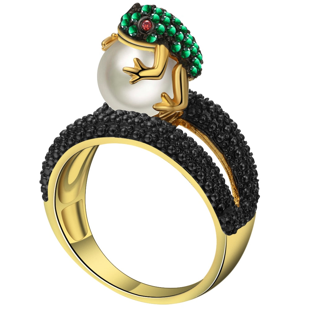 UFOORO Women's Micro Pave Green Frog CZ and Pearl Ring