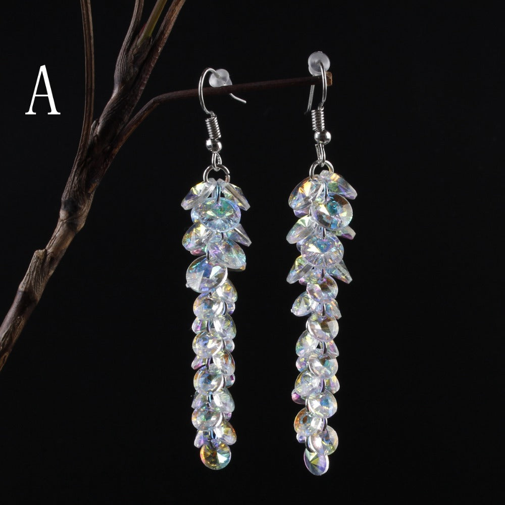 HeHuan Austrian Crystal AB Disc Long Dangle Earrings