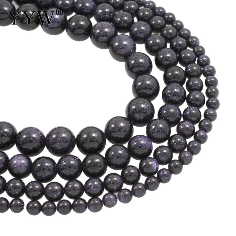 Blue Goldstone Beads Round 4 to 12mm options 15.5 Inch Strand