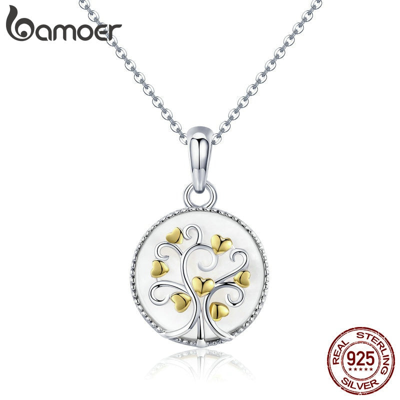 BAMOER Women's 925 Sterling Silver Gold Plated Hearts Tree of Life Necklace