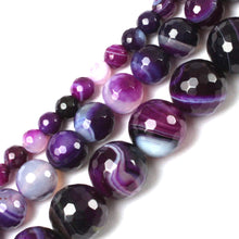 Gem Inside Natural Round Faceted Banded Purple Sardonyx Agate Beads 6mm - 10mm