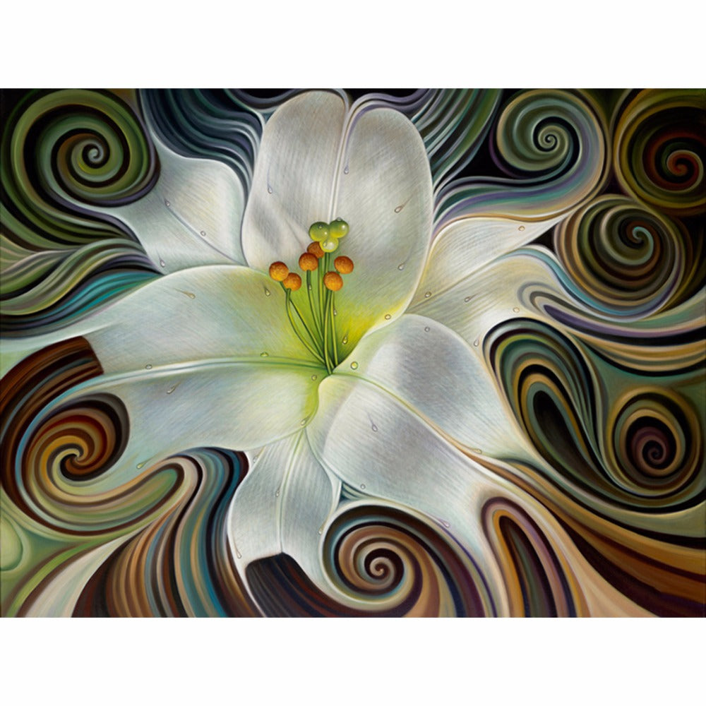 5D DIY Diamond Painting Abstract Flowing White Hibiscus - craft kit