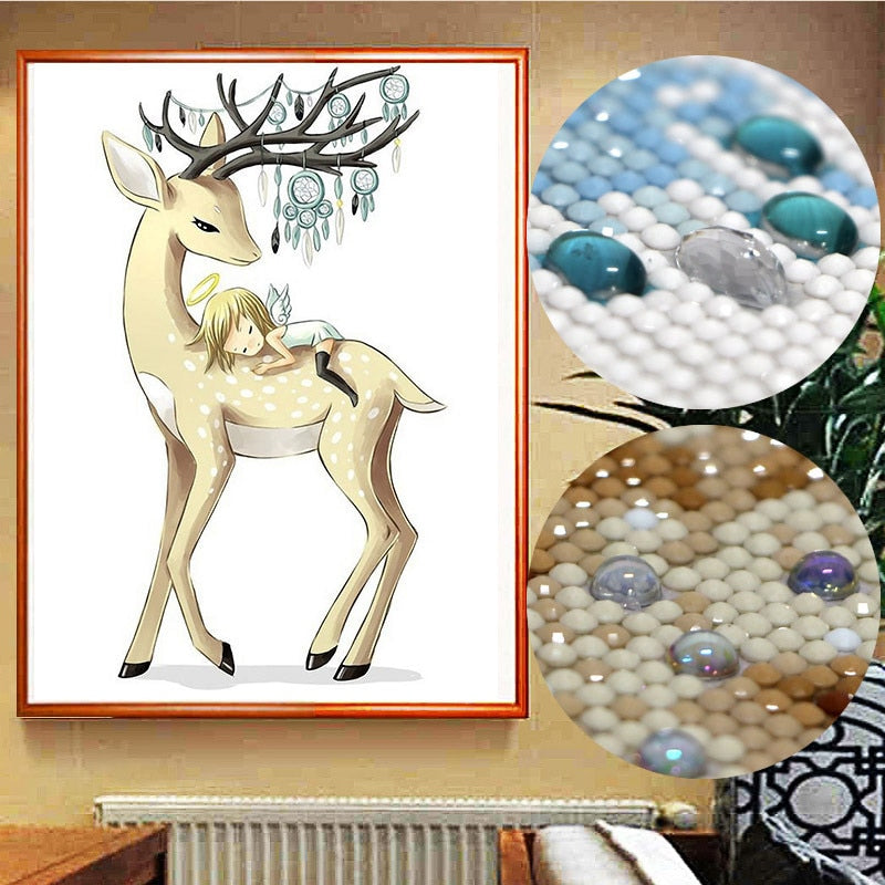 5D DIY Diamond Painting Reindeer and Angel - craft kit