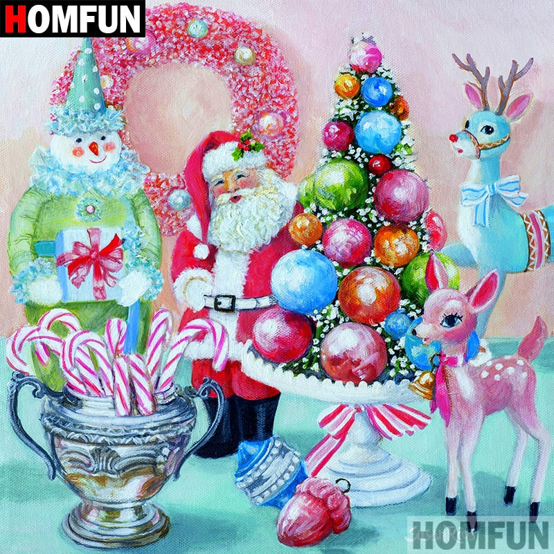 5D DIY Diamond Painting Pink Candy Santa Christmas Scene - craft kit
