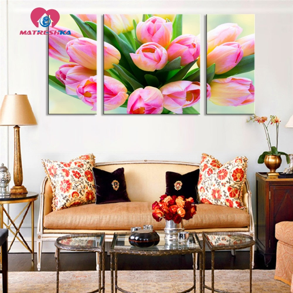DIY Diamond Painting Vibrant Yellow Pink Tulips Multi Panel - craft kit