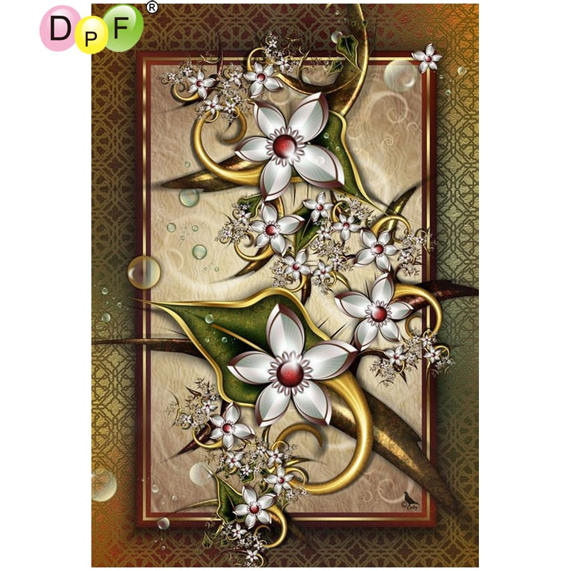 5D DIY Diamond Painting White Pod Flowers - craft kit
