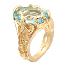 Hainon Women's Gold Tone Flower Vine Oval Lt Blue Zircon CZ Ring