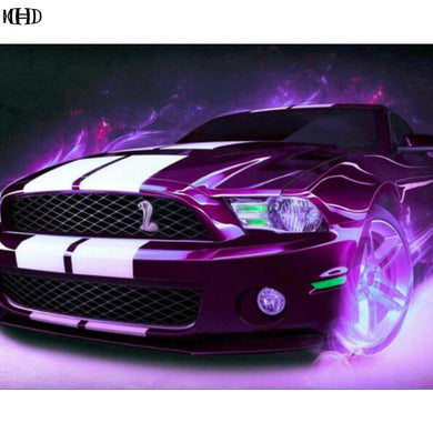 5D DIY Diamond Painting Purple Ford Shelby Cobra Sports Car - craft kit