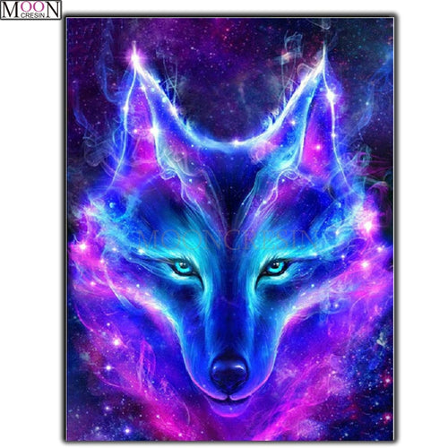 9d1453b2e8 5D DIY Diamond Painting Blue Flame Fantasy Wolf - craft kit