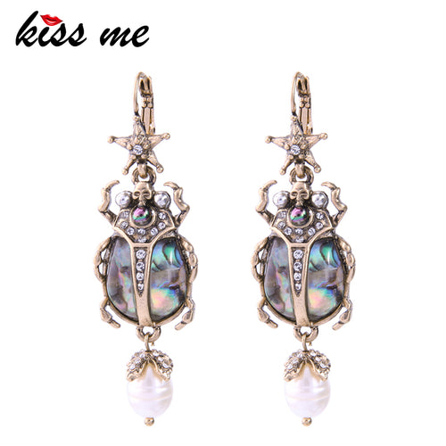 KISS ME Women's Cultured Pearl and Resin Beetle Earrings