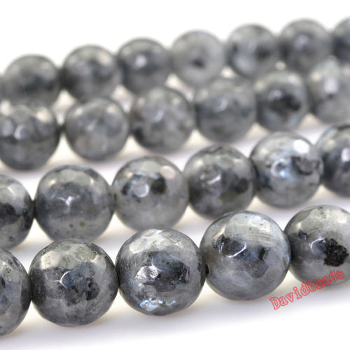 Micro Faceted Black Labradorite Round Beads 15in Strand 4 -12mm