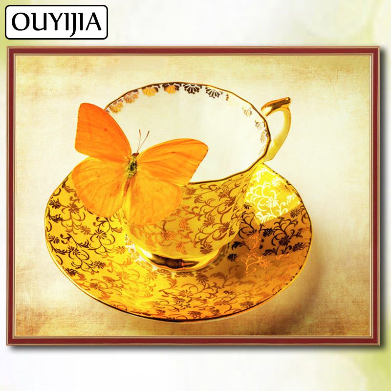 5D DIY Diamond Painting Golden Butterfly and Teacup - craft kit