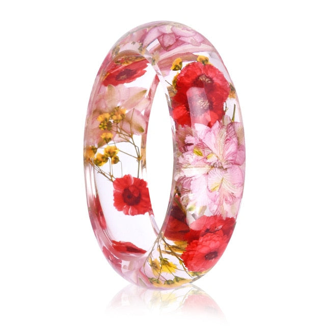 Women's Clear Resin Bangle Dried Red Poppy Flowers Bracelet
