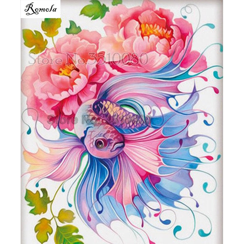 5D DIY Diamond Painting Blue and Pink Floral Betta - craft kit