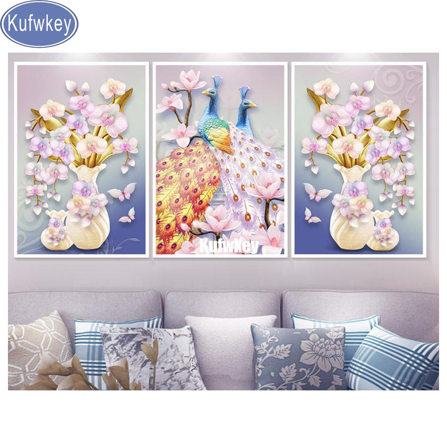 5D DIY Diamond Painting Cream Vase Orchids with Peacocks Multi Panel - craft kit