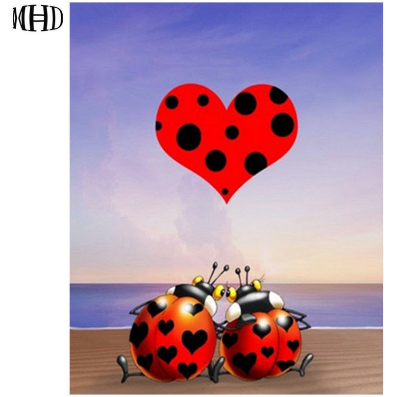 3D DIY Diamond Painting Cartoon Ladybug Love - craft kit