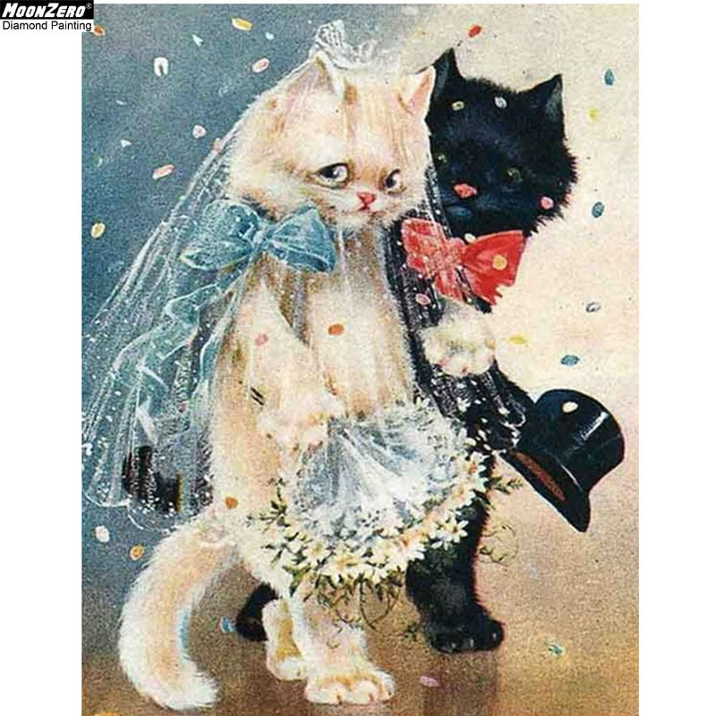 5D DIY Diamond Painting Bride and Groom Cats Drawing - craft kit