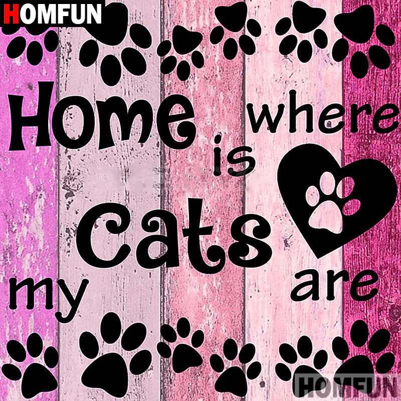 5D DIY Diamond Painting Home is Where My Cats Are - craft kit