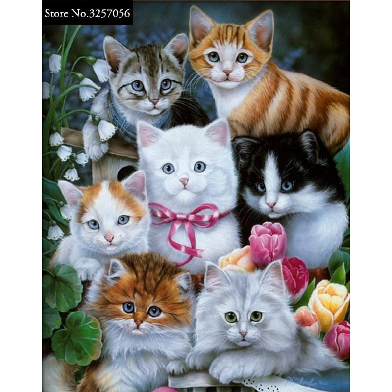 5D DIY Diamond Painting Fluffy Bunch of Kittens - craft kit