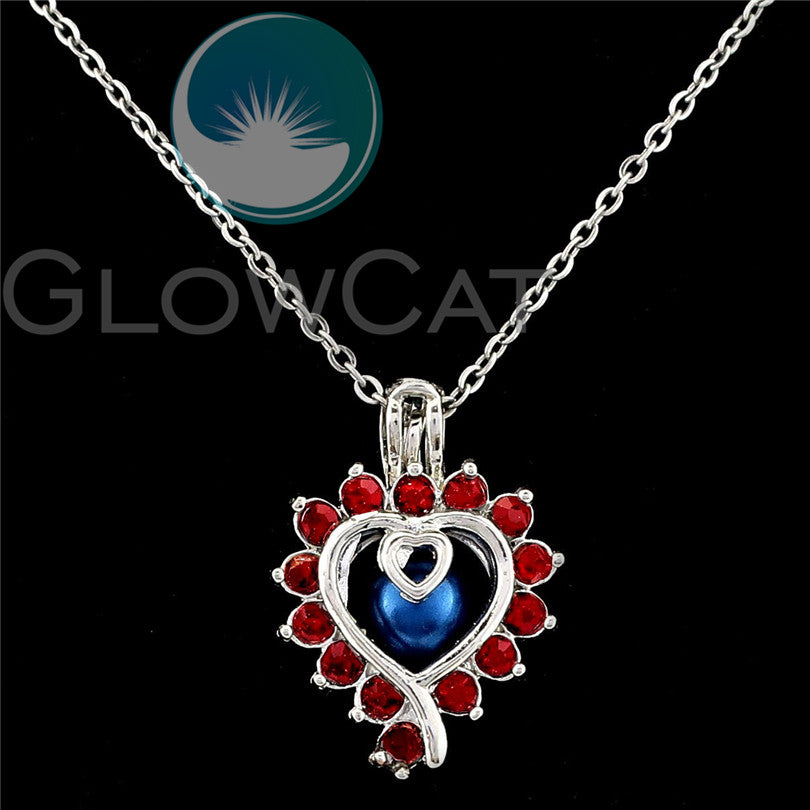 Glowcat Stainless Steel Rhinestone Red Heart  Pearl Diffuser Necklace
