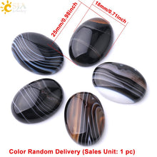 CSJA Dyed Black Banded Agate Cabochon Bead Oval Flat Back 13x18mm to 30x40mm