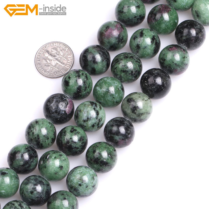 Natural Ruby Zoisite Round Strand Beads 15in 6-14mm size options