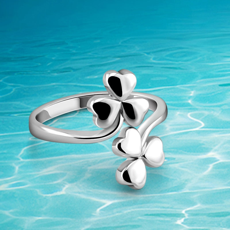 Women's 925 Sterling Silver Open Three Leaf Clover Pair Ring
