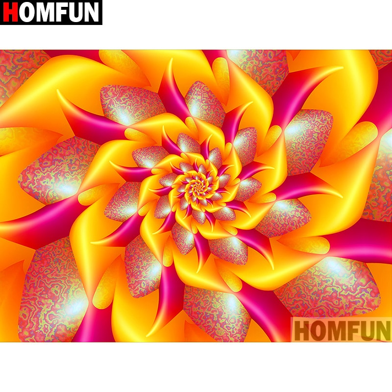 5D DIY Diamond Painting Bright Yellow Pink Flower Fractal - craft kit